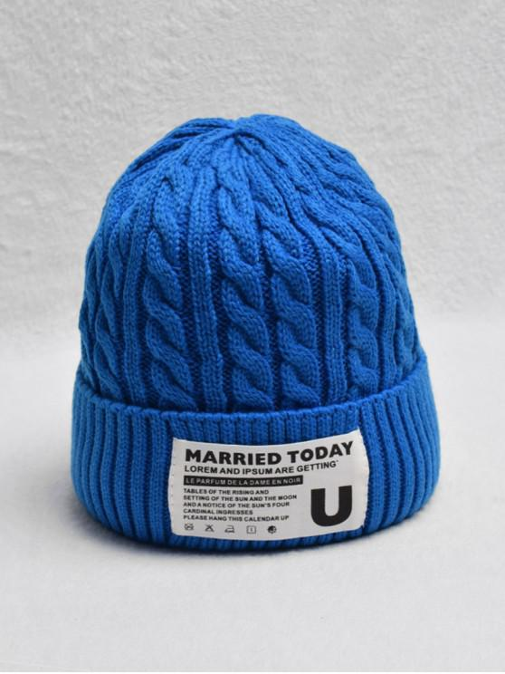 Chapeau Tricoté Tressé à Ourlet Roulé en Laine - Bleu