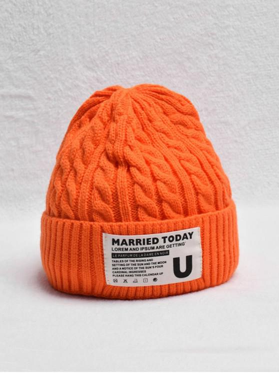chic Braided Turn Up Edge Fleece Knitted Hat - ORANGE