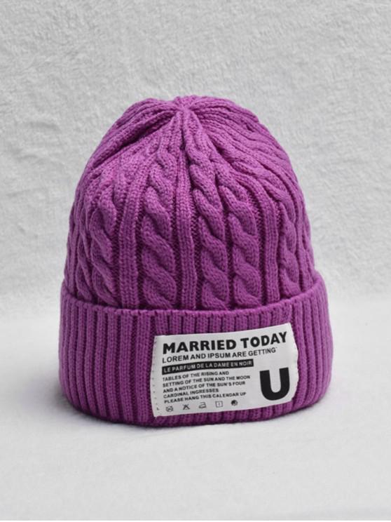 fancy Braided Turn Up Edge Fleece Knitted Hat - TYRIAN PURPLE