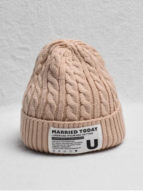 affordable Braided Turn Up Edge Fleece Knitted Hat - APRICOT