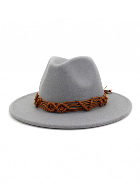 womens Crochet Rope Ethnic Solid Fedoras - LIGHT GRAY