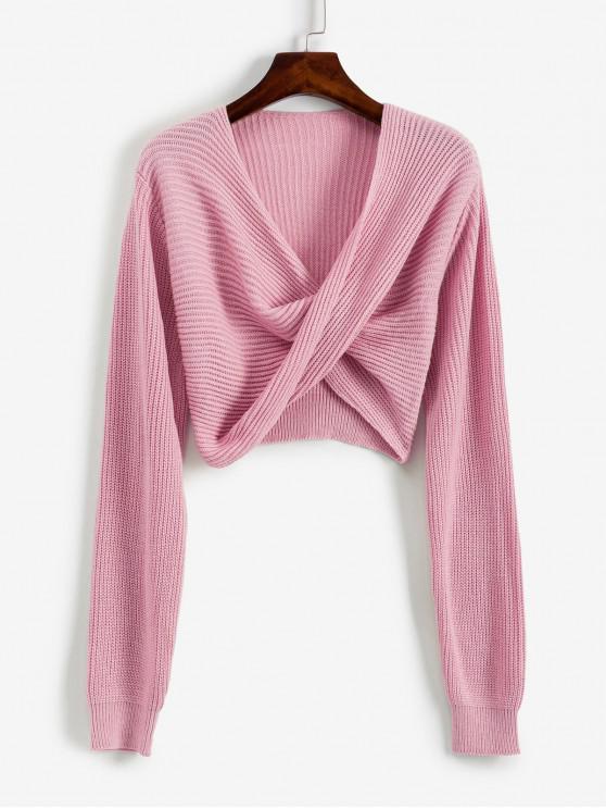 online V Neck Cropped Twist Front Sweater - LIPSTICK PINK XL