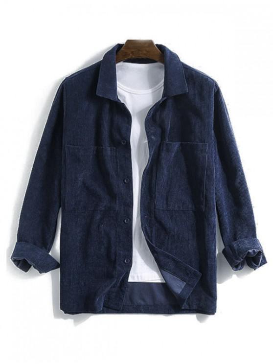 جيب الصلبة كم طويل زر قميص الحبل - ازرق غامق 2XL