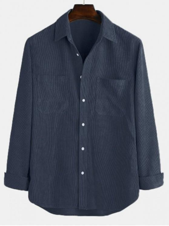 chic Solid Pockets Curved Hem Button Cord Shirt - CADETBLUE M