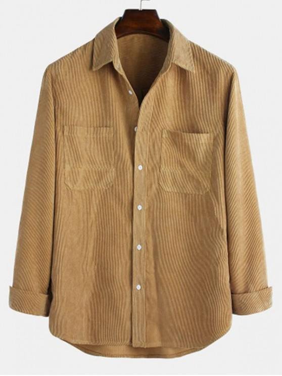 ladies Solid Pockets Curved Hem Button Cord Shirt - COOKIE BROWN 3XL