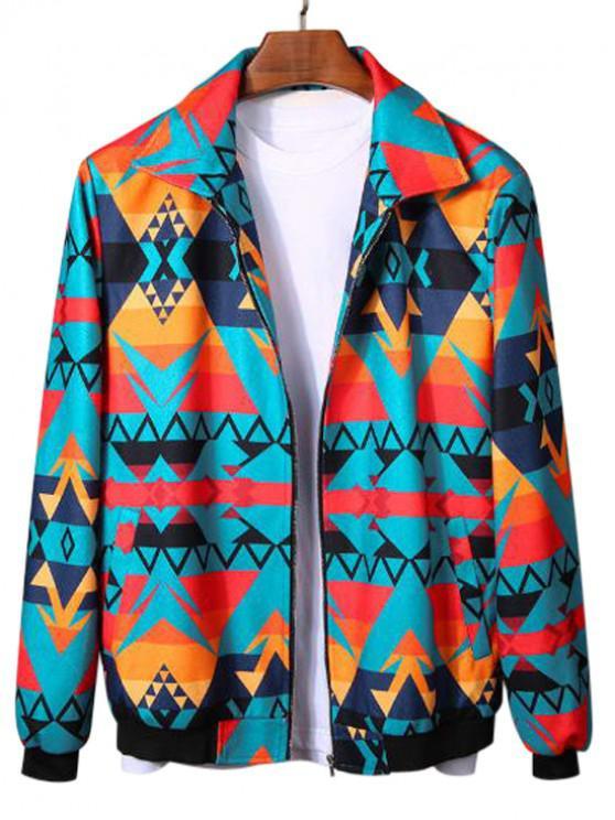 online Geometric Graphic Print Rib-knit Trim Jacket - MULTI L