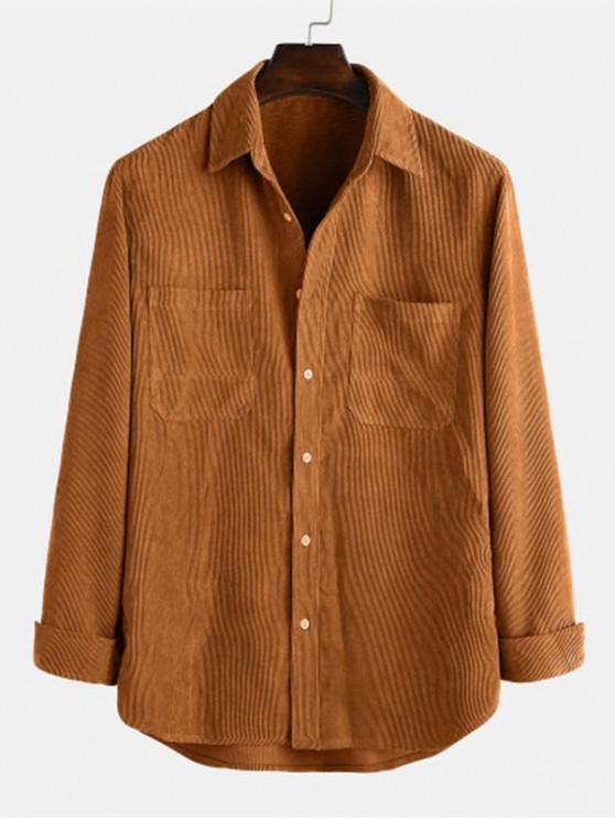 chic Solid Pockets Curved Hem Button Cord Shirt - DARK GOLDENROD L