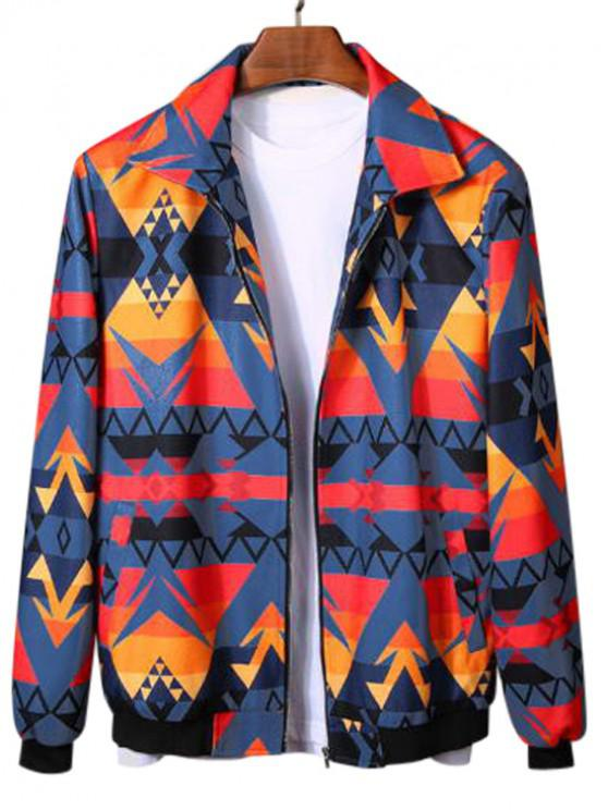 fancy Geometric Graphic Print Rib-knit Trim Jacket - MULTI-C M