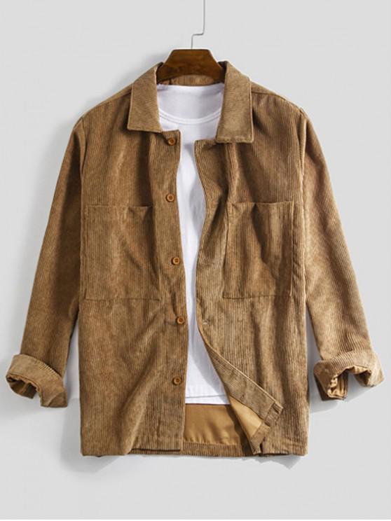lady Solid Pocket Long Sleeve Button Cord Shirt - DARK GOLDENROD XL