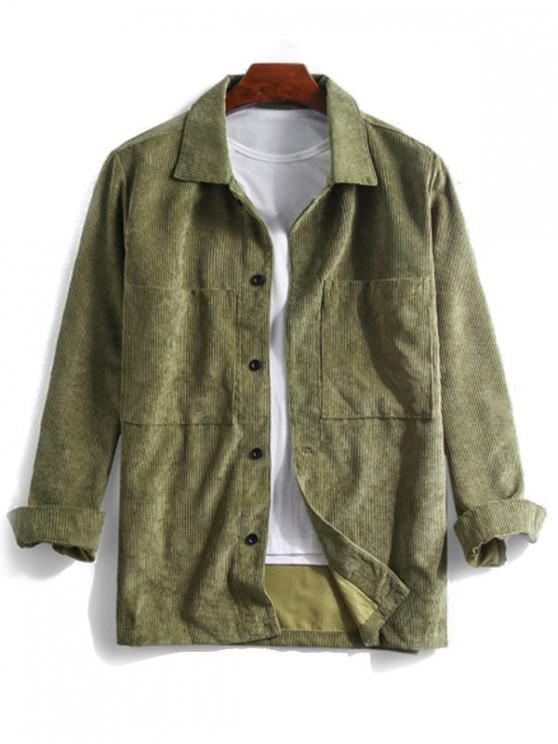 fashion Solid Pocket Long Sleeve Button Cord Shirt - ARMY GREEN XL