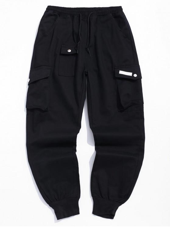 unique Multi-pocket Design Casual Jogger Pants - BLACK L