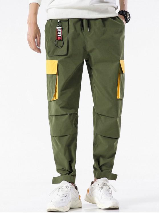 fashion Color Blocking Pocket Design Casual Pants - ARMY GREEN 4XL