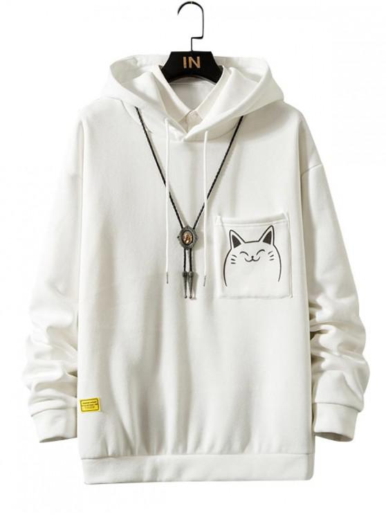 new Funny Cartoon Cat Print Pocket Fleece Hoodie - WHITE L