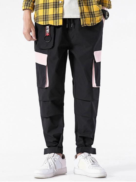 shop Color Blocking Pocket Design Casual Pants - BLACK L