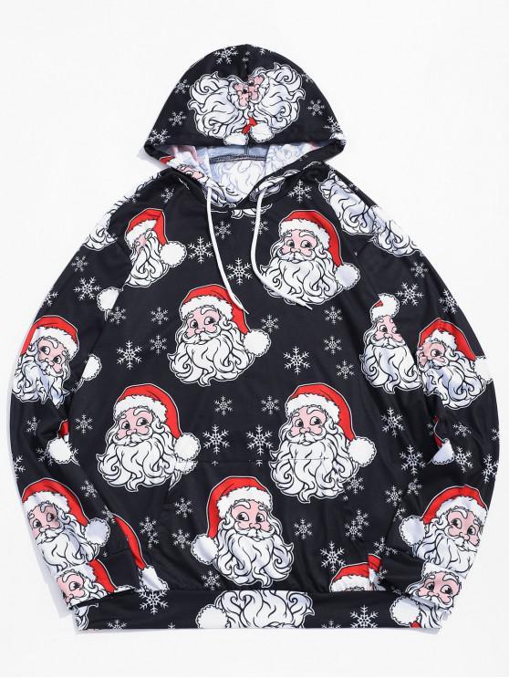 womens Christmas Santa Snowflake Print Pouch Pocket Casual Hoodie - BLACK L