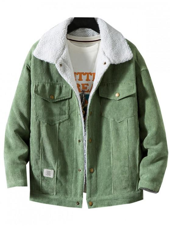 women Chest Pocket Faux Fur Fluffy Casual Cord Jacket - GREEN M