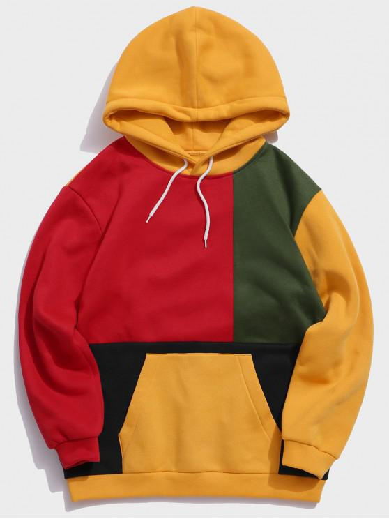Цветной блок Сплесень Карман как мешочек Со шнуровкой Толстовка - Многоцветный XL