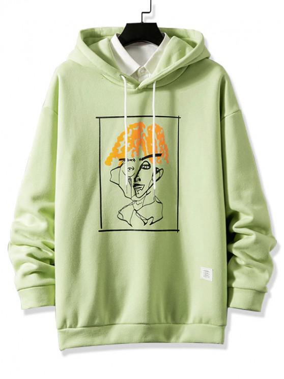 lady Funny Pattern Graphic Print Drawstring Fleece Hoodie - GREEN M
