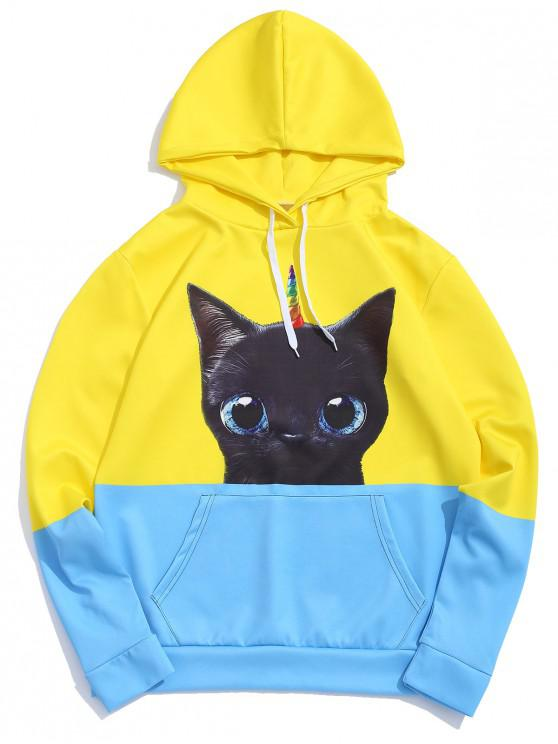 chic Two Tone Cat Print Drawstring Casual Hoodie - YELLOW L
