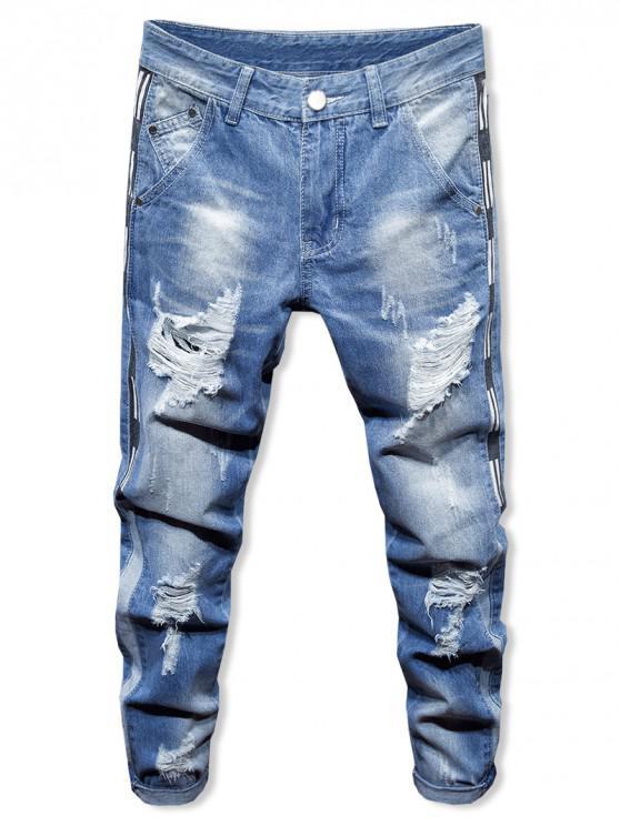 ladies Broken Hole Distressed Casual Denim Pants - LIGHT BLUE 34