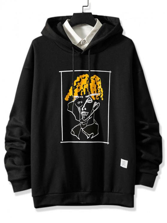 hot Funny Pattern Graphic Print Drawstring Fleece Hoodie - BLACK 3XL