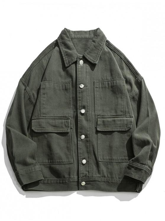 fashion Solid Color Drop Shoulder Cargo Jacket - ARMY GREEN L