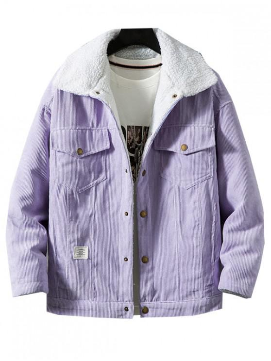 buy Chest Pocket Faux Fur Fluffy Casual Cord Jacket - VIOLET XL