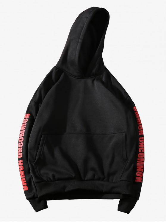 ladies Graphic Print Kangaroo Pocket Casual Hoodie - BLACK S