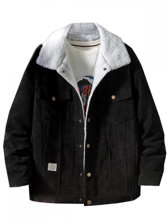 women's Chest Pocket Faux Fur Fluffy Casual Cord Jacket - BLACK S