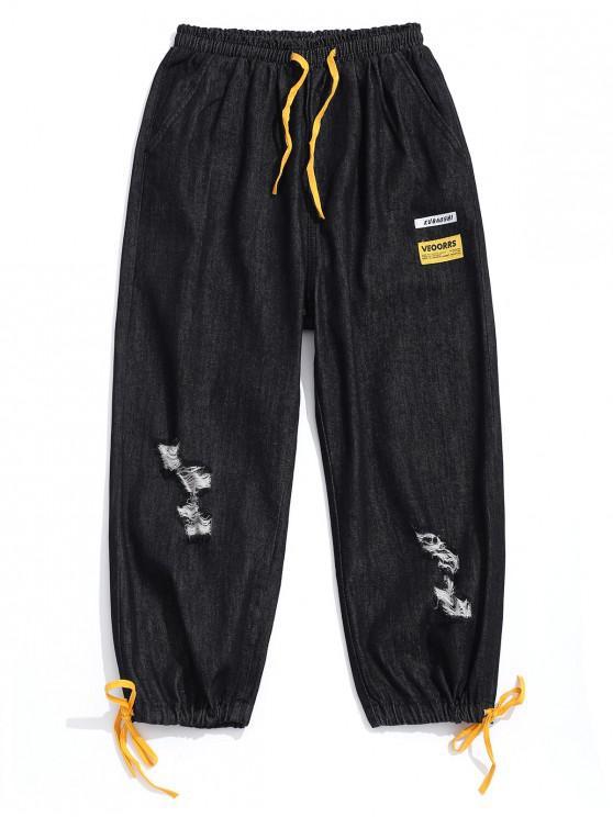 sale Destroyed Design Color Spliced Casual Jeans - BLACK M
