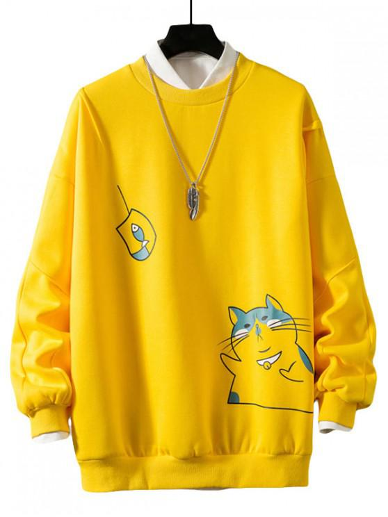 women Funny Cat and Fish Print Drop Shoulder Fleece Sweatshirt - YELLOW M