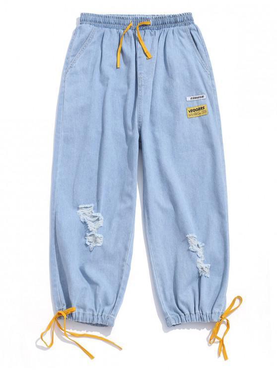 Destruida Casual Diseño empalmado color de los pantalones vaqueros - Azul claro S