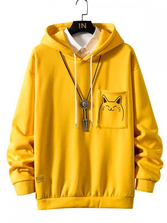 hot Funny Cartoon Cat Print Pocket Fleece Hoodie - YELLOW L