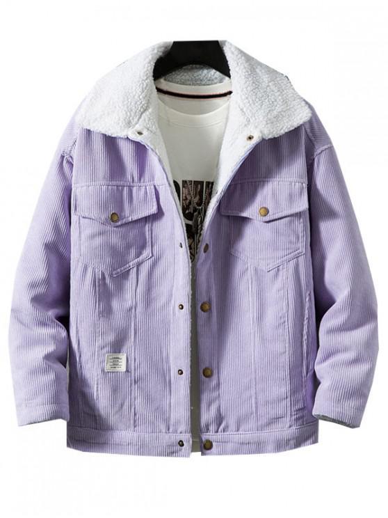 sale Chest Pocket Faux Fur Fluffy Casual Cord Jacket - VIOLET M