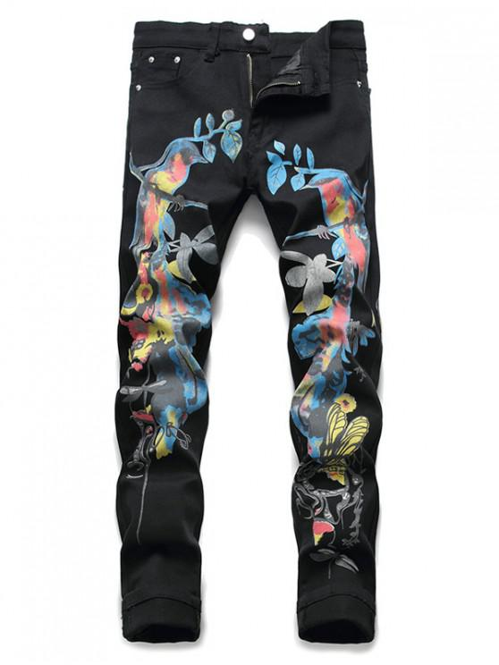hot Chinese Style Birds Print Pencil Denim Pants - BLACK 36