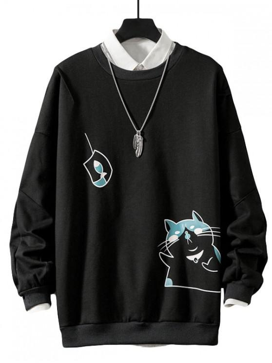 fancy Funny Cat and Fish Print Drop Shoulder Fleece Sweatshirt - BLACK 3XL