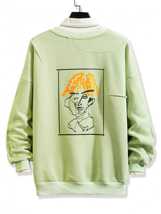 fancy Funny Pattern Graphic Print Fleece Sweatshirt - GREEN 3XL