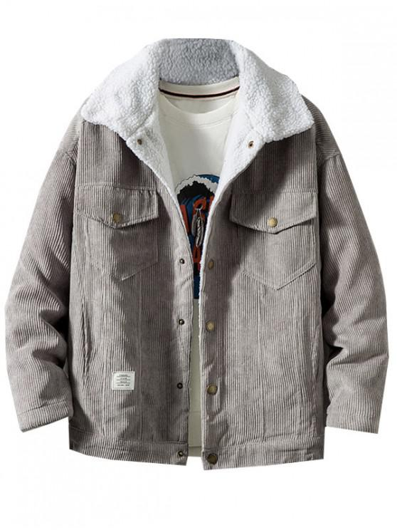 women Chest Pocket Faux Fur Fluffy Casual Cord Jacket - GRAY M