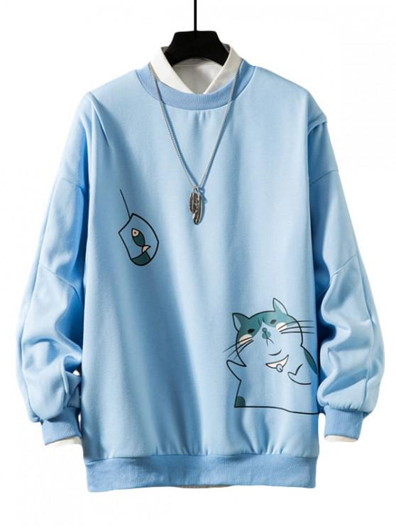 sale Funny Cat and Fish Print Drop Shoulder Fleece Sweatshirt - BLUE 3XL