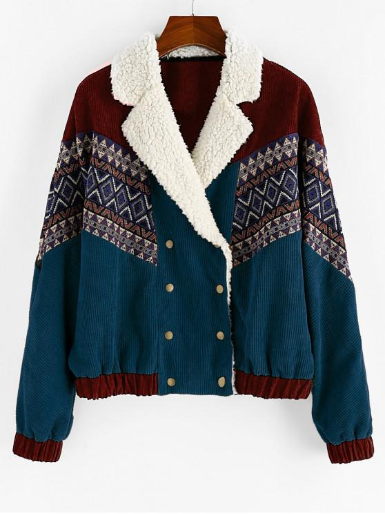 women ZAFUL Double Breasted Tribal Print Faux Shearling Collar Corduroy Jacket - PEACOCK BLUE L