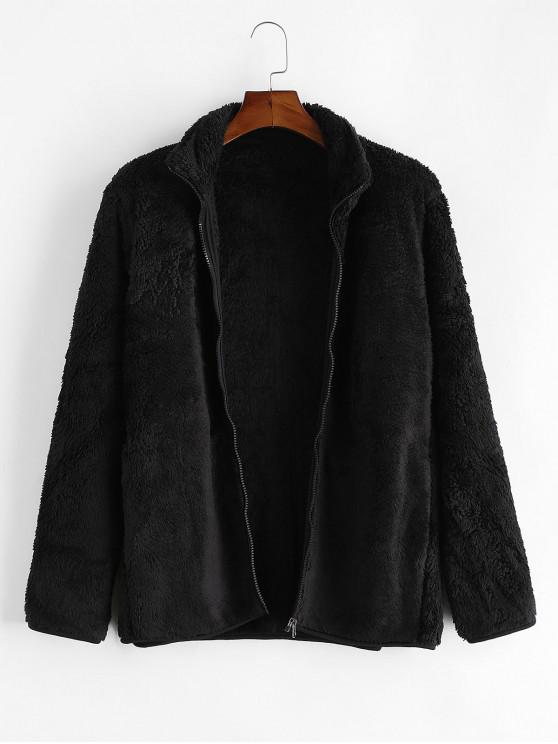 outfits Solid Faux Fur Fuzzy Zip Up Stand Collar Jacket - TWILIGHT BLACK L