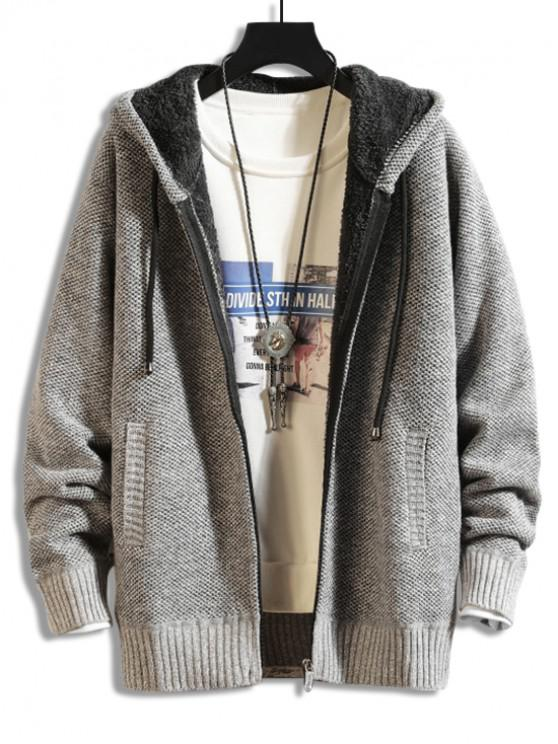 buy Casual Solid Color Zip Up Cardigan - GRAY CLOUD S