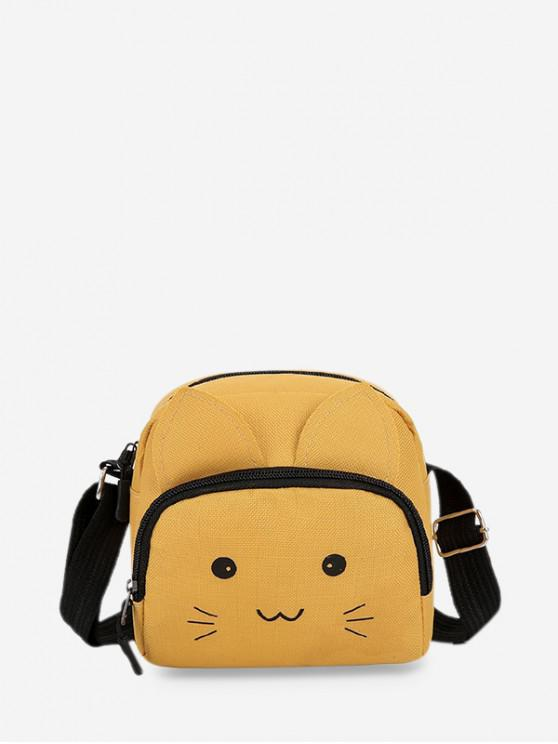best Canvas Cartoon Cat Crossbody Bag - BEE YELLOW