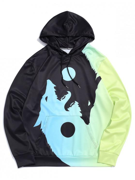 chic Wolf Printed Pocket Decorated Drawstring Hoodie - TEA GREEN L