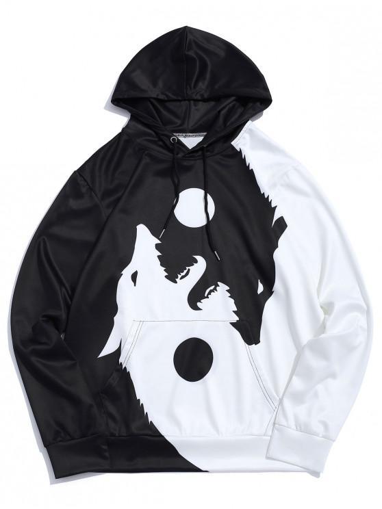 fashion Wolf Printed Pocket Decorated Drawstring Hoodie - WHITE M