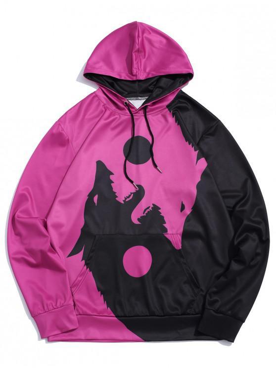 chic Wolf Printed Pocket Decorated Drawstring Hoodie - PALE VIOLET RED M