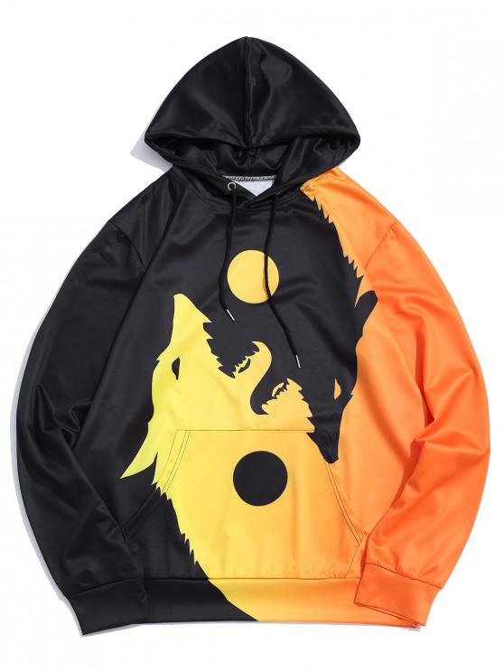 online Wolf Printed Pocket Decorated Drawstring Hoodie - YELLOW M