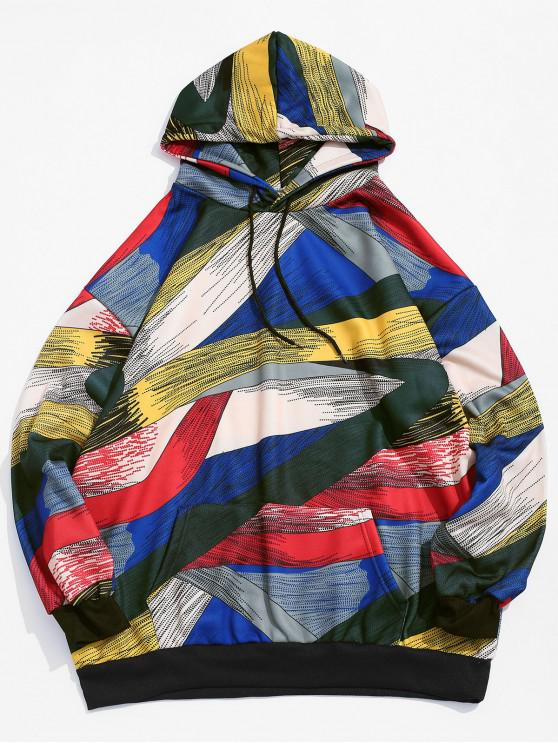 affordable Abstract Print Drop Shoulder Drawstring Fleece Hoodie - YELLOW L