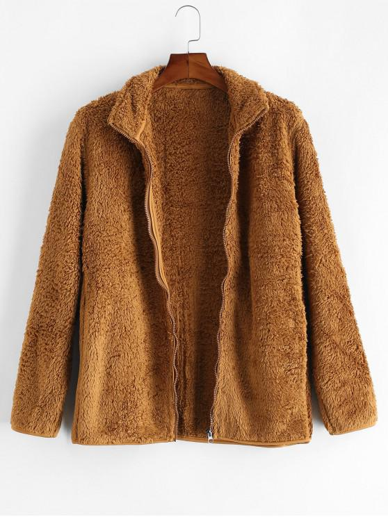 best Solid Faux Fur Fuzzy Zip Up Stand Collar Jacket - CAMEL BROWN L