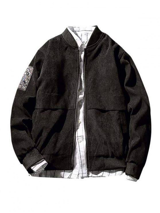 shop Print Patched Zipper Jacket - BLACK XS